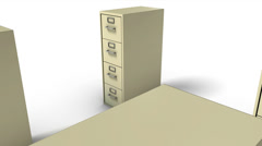 Dolly back diagonally from single File Cabinet revealing many Cabinets (Beige) Stock Footage