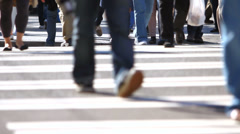 City Pedestrian Traffic Foot-Traffic Sequence Stock Footage