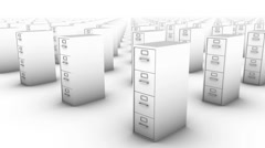 Sweeping across endless File Cabinets front (White) Stock Footage