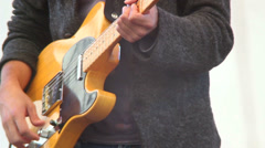 Riff guitar hard rock playing male musician, stage concert gig, click for HD - stock footage