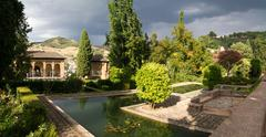 panorama of the alhambra - stock photo