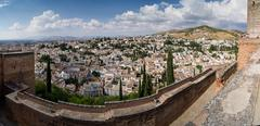 view of granada from the alhambra - stock photo