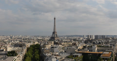 Ultra HD 4K Aerial View Eiffel Tower Paris Skyline City Overlook, Landmark Stock Footage
