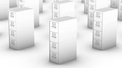 Endless File Cabinets vertigo effect (White) - stock footage