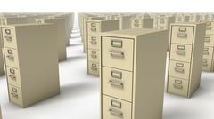 Angled close-up of endless File Cabinets (Beige) - stock photo