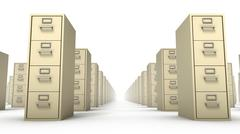 Low angled front view of endless File Cabinets (Beige) Stock Photos