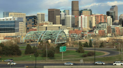 Denver Skyline Pan with Traffic Stock Footage