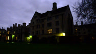 Stock Video Footage of Cambridge University night time pan