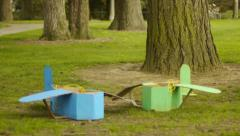 Cardboard Airplanes In the Grass Stock Footage