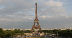Ultra HD 4K Aerial View Paris Eiffel Tower Pont d'Iena Traffic Busy Rush Hour - stock footage