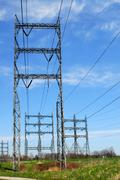 Electrical transmission tower - stock photo
