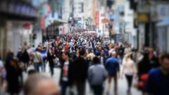 City Pedestrian Traffic Brussels Tilt Shift Slow Motion - stock footage