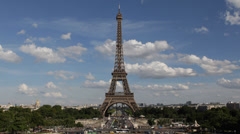 Aerial View Eiffel Tower Landmark Paris Champ de Mars Romantic Capital Sunny Day Stock Footage