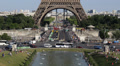 Aerial View Paris Eiffel Tower Bus Travel Pont d'Iena Car Traffic Busy Rush Hour Footage