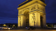 Illuminated Night Arc de Triomphe Triumphal Arch Paris France Car Traffic Lights Stock Footage