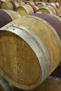 Wine Casks In Cellar - stock photo