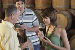 People Tasting Wine Beside Wine Casks - stock photo