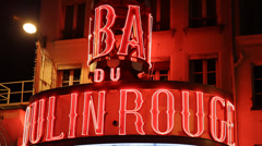 Illuminated Night Moulin Rouge Red Neon Sign Cabaret Paris Entertainment - stock footage