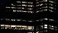 Stock Video Footage of Illuminated Night Lights Business District Paris Corporate Building Office Tower