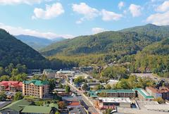 Aerial view of the main road through gatlinburg, tennessee Stock Photos