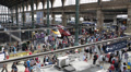 Interior View Gare du Nord Paris North Station People Crowd Traffic Passing Day Footage