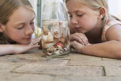 Sisters Looking At Seashells In Bottle Stock Photos