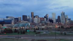 4K Nightfall over Denver Skyline Stock Footage