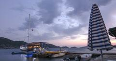 Island Pier at Dusk Time Laspe 4K Stock Footage