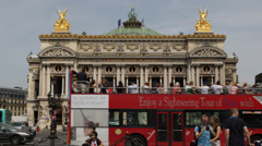 Palace Opera Palais Garnier Paris Car Traffic People Passing Double Decker Bus Stock Footage