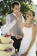 Couple Cutting Wedding Cake - stock photo