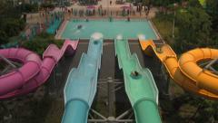 4 Colored Water Tube Slides at Waterpark Stock Footage