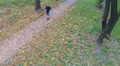 The man walks on autumn park.  Aerial  view Footage