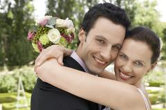 Newly Married Couple Embracing - stock photo