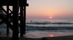 California Beach Sunset With Pier Stock Footage