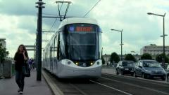 Tram / Light Rail Vehicle (1) - Rouen France Stock Footage