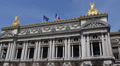 Facade National Musical Academy Paris Opera Garnier Golden Statues French Flag Footage
