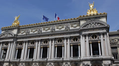 Facade National Musical Academy Paris Opera Garnier Golden Statues French Flag Stock Footage