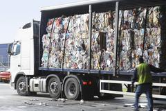 Stacks Of Recycled Paper In Lorry Stock Photos
