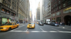 Taxi Cab Driving through Manhattan New York City, NYC, USA - stock footage