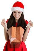 Christmas Girl Looking in Laukku Kuvituskuvat