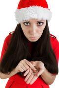 Christmas Girl with Not Enough Money Stock Photos