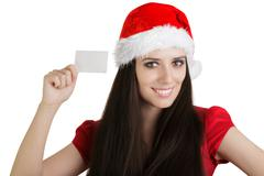 Christmas Girl with Card - stock photo