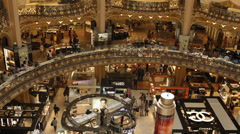 Interior Galeries Lafayette Store Paris People Shopping Center Customers Clients - stock footage