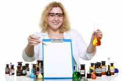 Stock Photo of chemist woman or girl student or female laboratory assistant