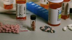 Slow tracking dolly shot of prescription drugs, pharmaceuticals Stock Footage