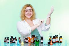 chemist woman or girl student or female laboratory assistant - stock photo