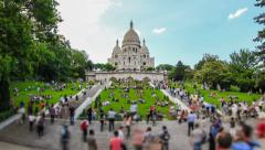 City Pedestrian Traffic Time Lapse Paris Fisheye Zoom - stock footage