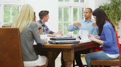 Attractive casual business team in relaxed company meeting Stock Footage