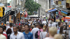 Crowd People Walk Tourist Walking Store Paris City Busy Crowded Shopping Street  - stock footage