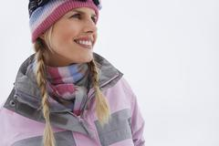 Stock Photo of Portrait Of Smiling Woman In Winter Clothing
